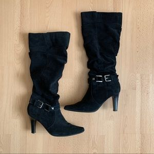 Blake Scott Black Knee High Faux Suede Boots
